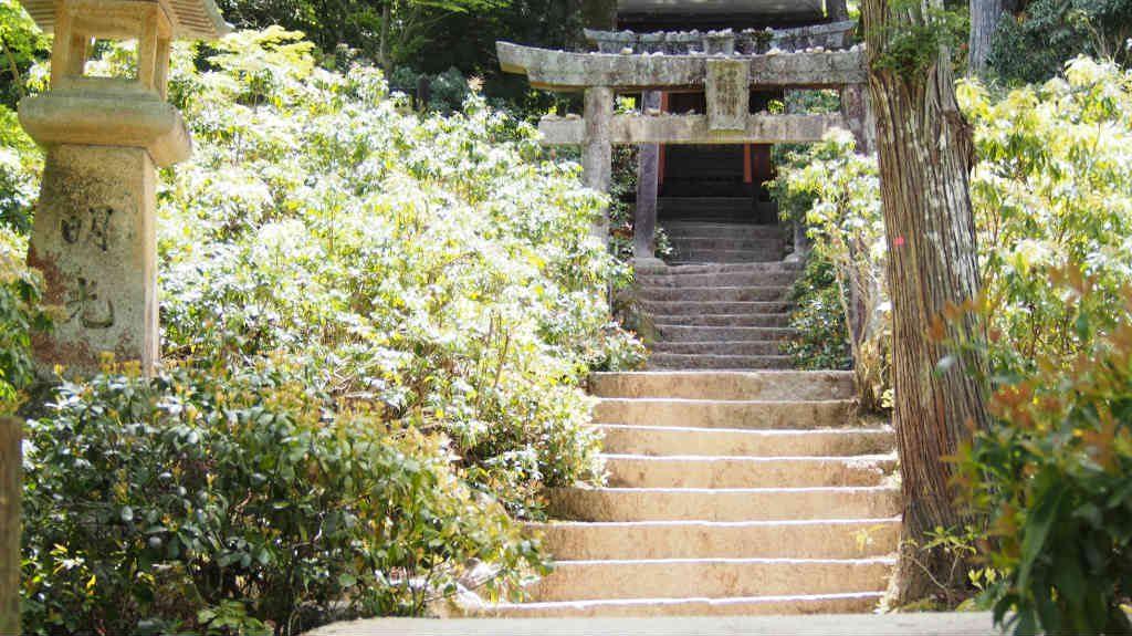 紅葉谷公園にある階段と鳥居