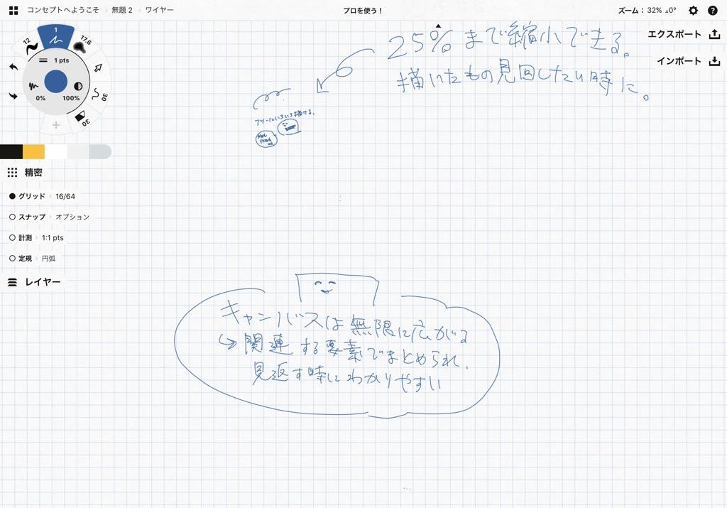 Concept(コンセプト)の使い方・機能:グリッド・レイヤーなどの設定